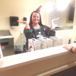 Our festive Sales Director, Melinda Tubbs, serving as a bartender for the party!