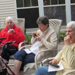 Jeane, Ginny and Ann enjoying their S'Mores